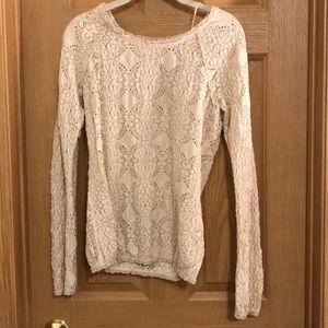 Free people - beige, lace embroidered shirt